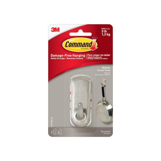 Command™ Accent Medium Hook - Brushed Nickel - 2