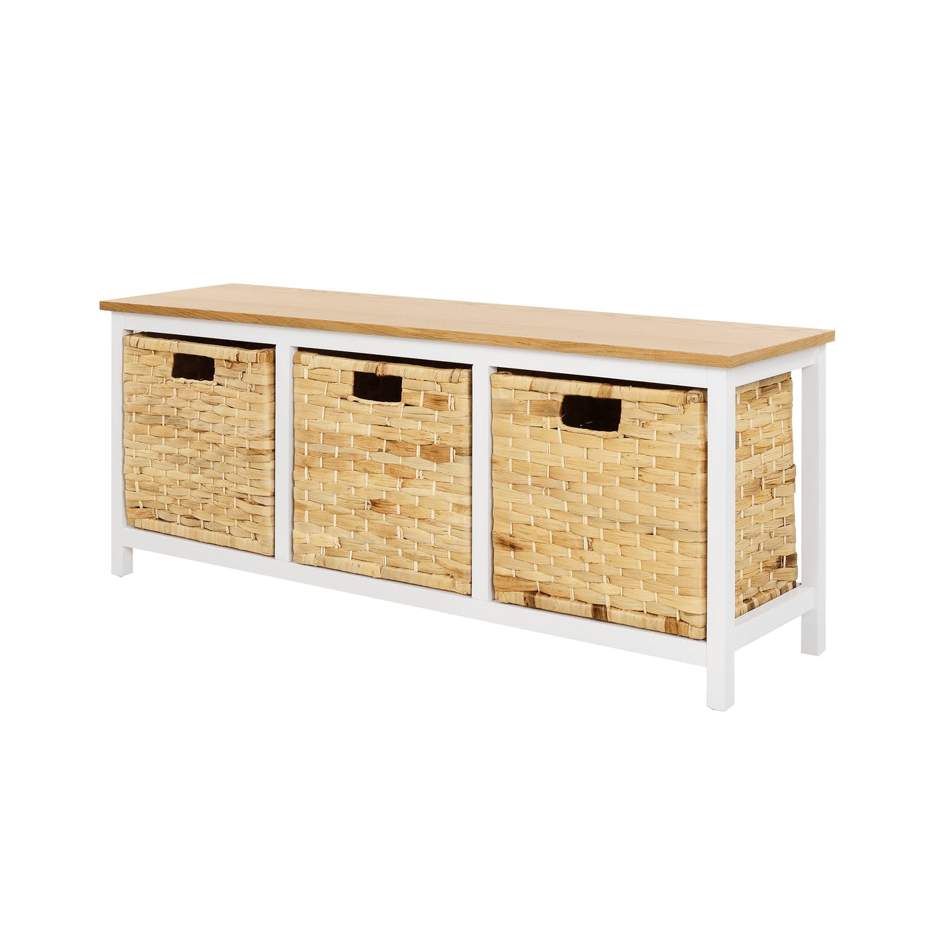 Entryway bench with 3 storage compartments underneath the seating area