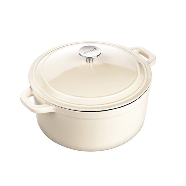 Lamart Enamelled Cast Iron Round Pot With Lid 26 cm - Cream - 0