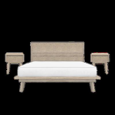 Leland Queen Platform Bed with 2 Leland Single Drawer Bedside Tables - Image 1