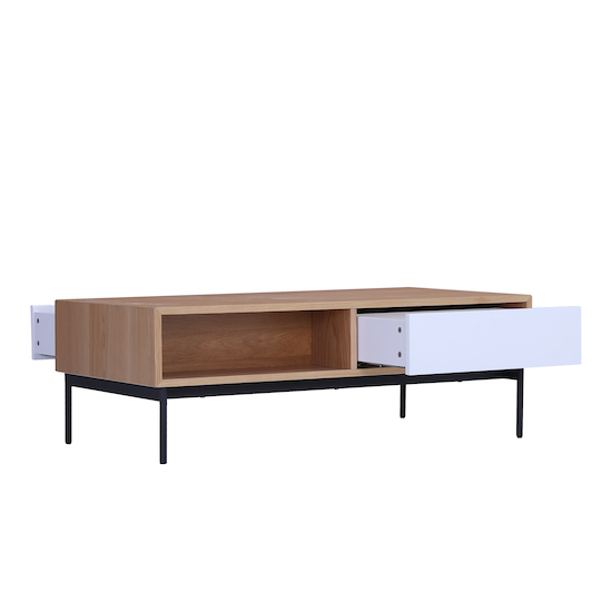 Laholm - Bacchus Twin Drawer Coffee Table - White, Oak