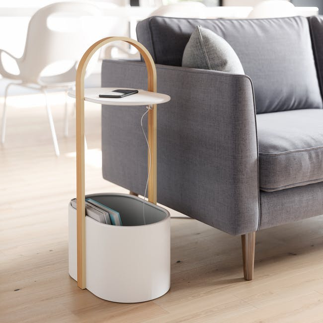 Hub Side Table with Storage - White, Natural - 6
