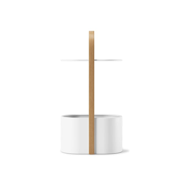 Hub Side Table with Storage - White, Natural - 4