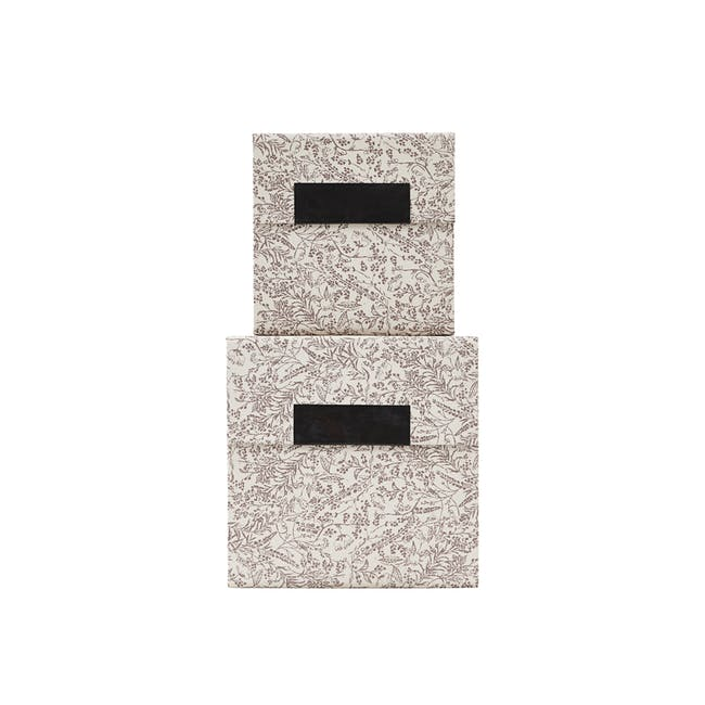 Blossom Square Storage Boxes - Brown (Set of 2) - 0
