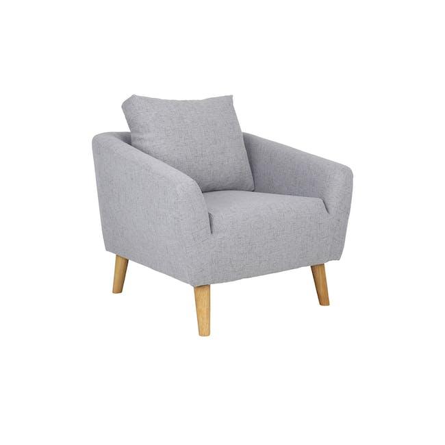 Hana 3 Seater Sofa with Hana Armchair - Light Grey - 6