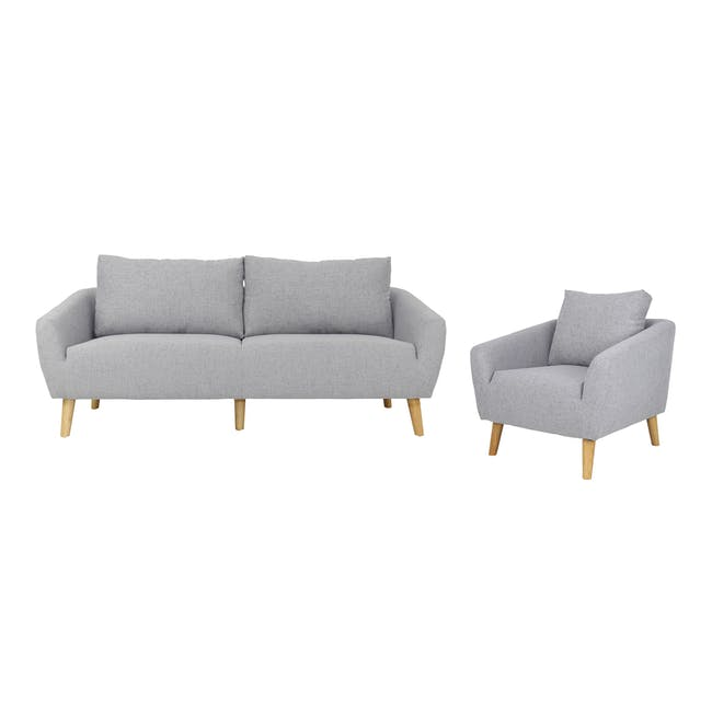 Hana 3 Seater Sofa with Hana Armchair - Light Grey - 0
