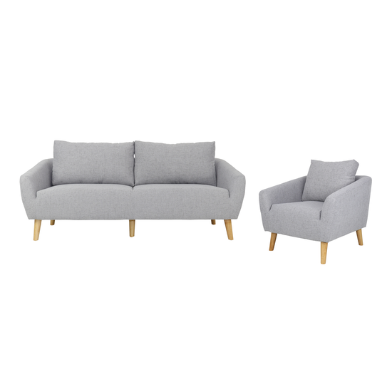 Hana 3 Seater Sofa with Hana Armchair - Light Grey