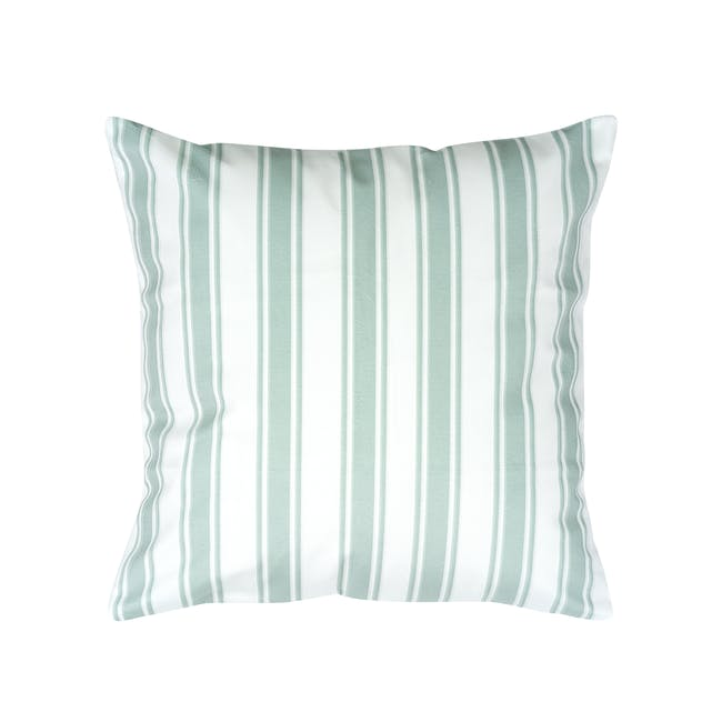 Pencil Stripe Plush Cushion Cover - Mint - 0