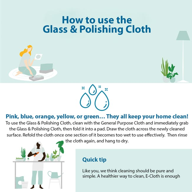 e-cloth Glass and Polishing Eco Cleaning Cloth - Lime Green - 2