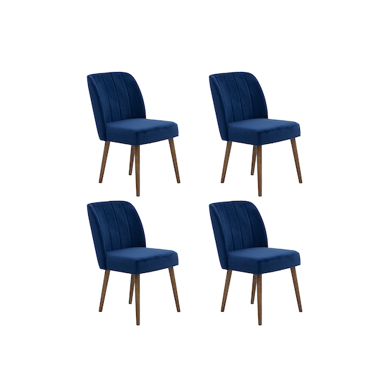 4 Russell Dining Chairs In Cocoa Royal Blue Velvet