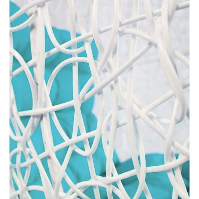 White Cocoon Swing Chair - Blue Cushion - 1