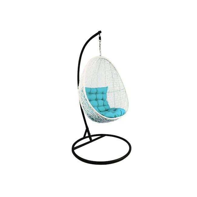 White Cocoon Swing Chair - Blue Cushion - 0