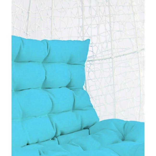 White Cocoon Swing Chair - Blue Cushion - 2