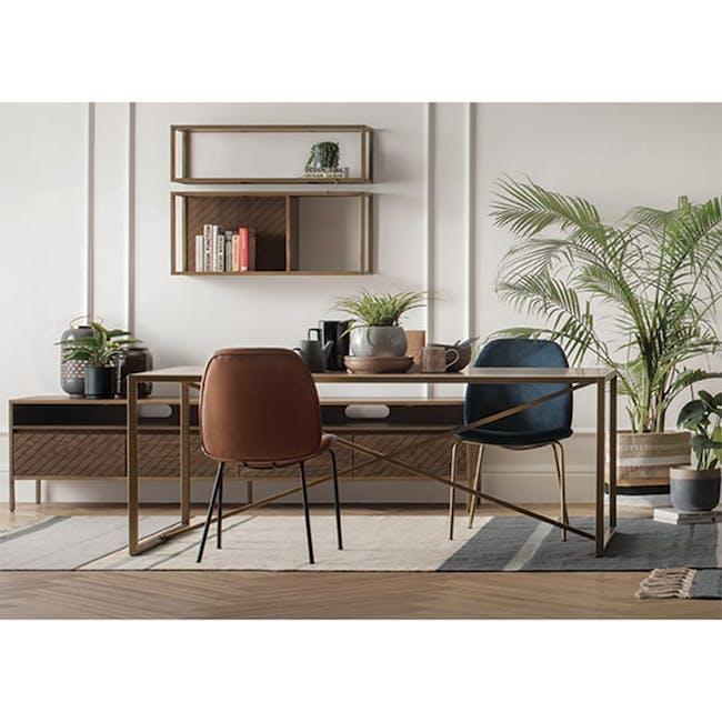 Anika Side Chair - Hazelnut (Faux Leather) - 1