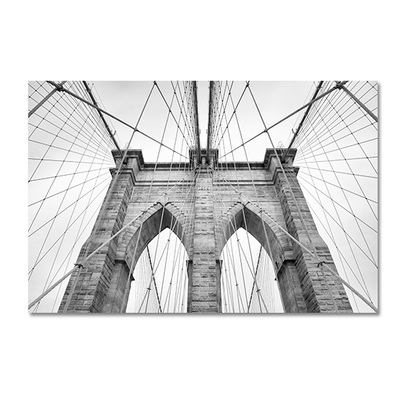 Monochrome Brooklyn Bridge Print Poster - Image 1