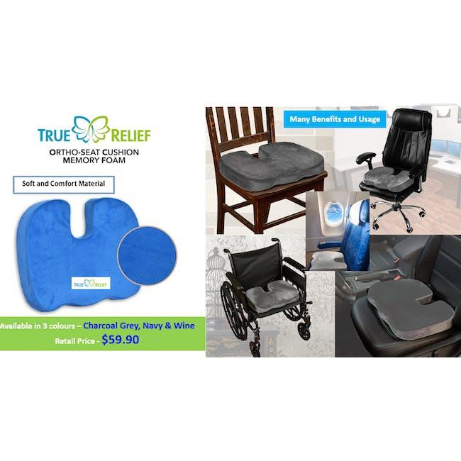 True Relief Ortho-Seat Memory Foam Cushion - Charcoal Grey - 2