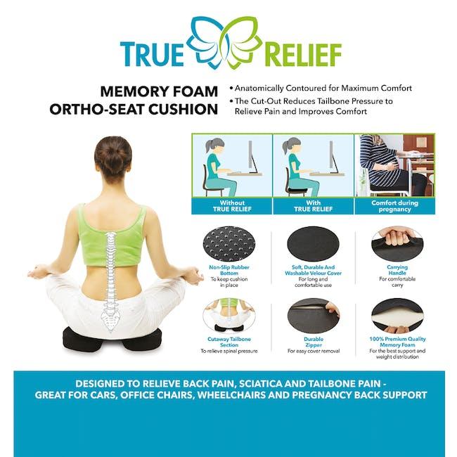 True Relief Ortho-Seat Memory Foam Cushion - Charcoal Grey - 3