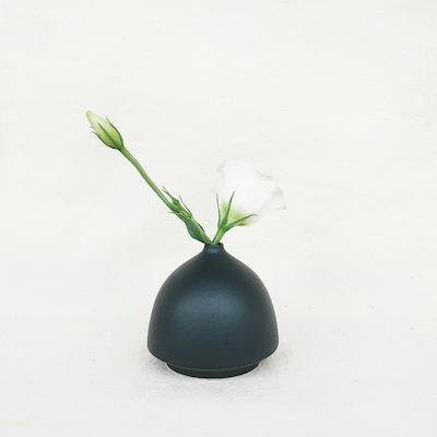 Nordic Matte Vase Half Cylinder - Matte Black