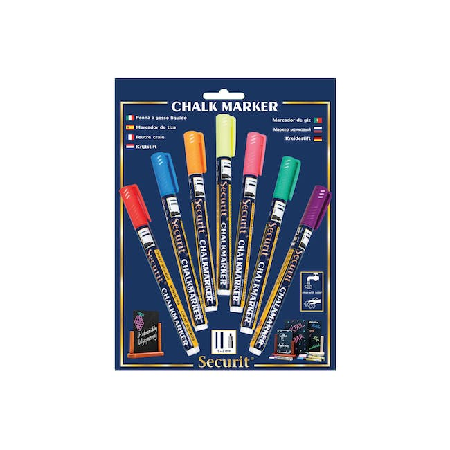 Securit Liquid Chalk Markers With 1-2Mm Tip - Bl/Or/Pu/Pk/Rd/Gr/Ye (Set of 7) - 0