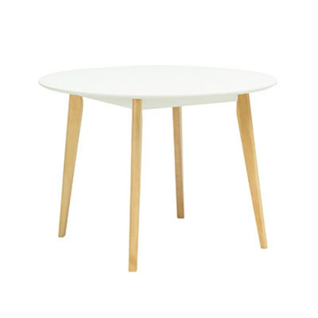 Harold Round Dining Table 1m with 4 DSW Chairs - White - 3