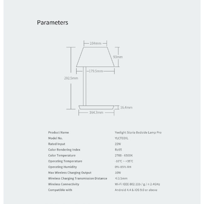 Yeelight Staria LED Bedside Lamp (W Wireless Charging Pad) - 6
