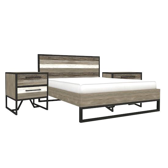 HipVan Bundles - Xavier Queen Bed with 2 Xavier Bedside Tables