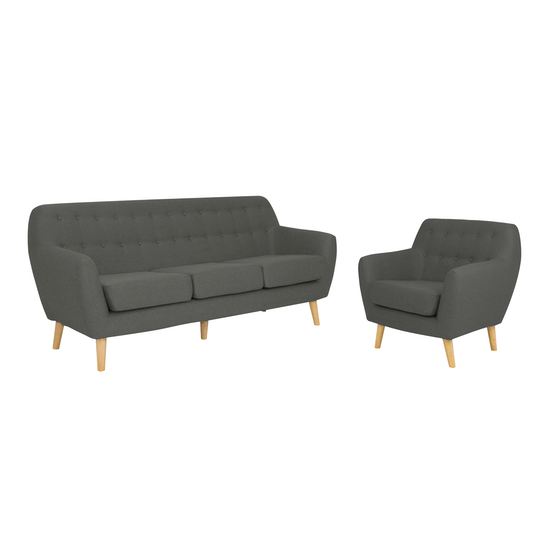 Emma 3 Seater Sofa And Armchair Charcoal