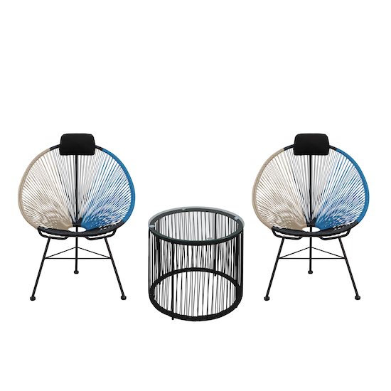 HipVan Bundles - Acapulco Chairs with Acapulco Coffee Table - Taupe, Black, Blue Mix