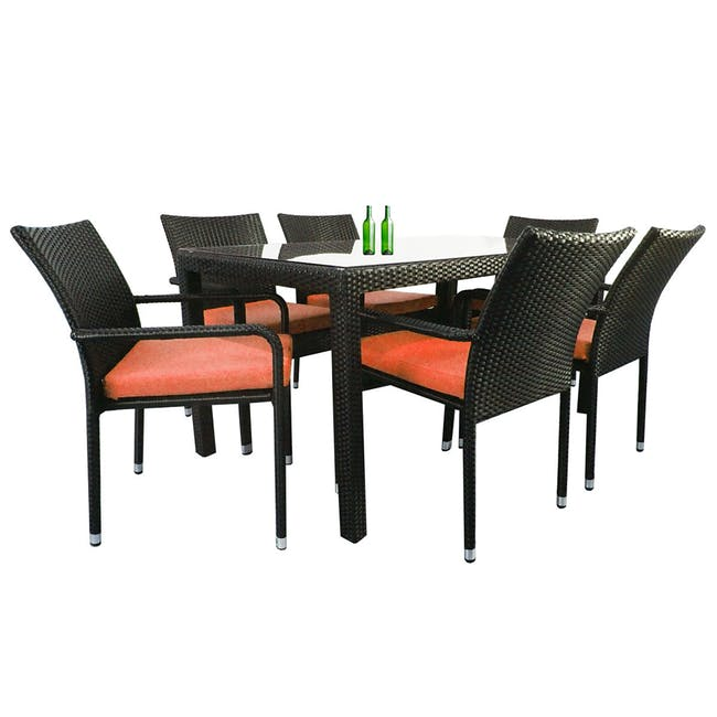 Boulevard Outdoor Dining Set with 6 Chair - Orange Cushion - 1