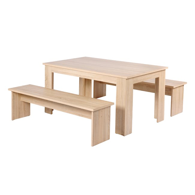Mila Dining Set - 1.4m Table and 2 Benches - 0