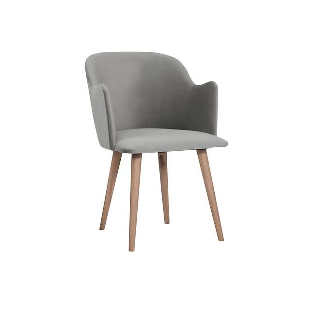 Anneli Dining Armchair - Oak, Grey (Velvet) - 0