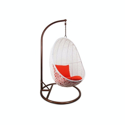 White Cocoon Swing Chair with Orange Cushion - Image 1