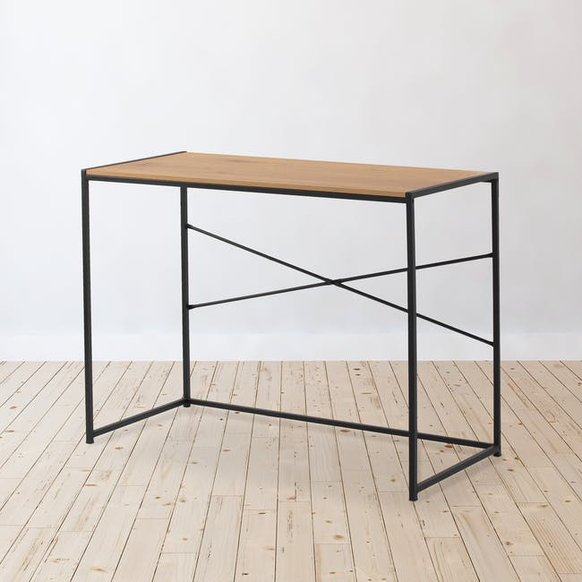 Bradford Study Console Table 1m - Black, Oak - 1