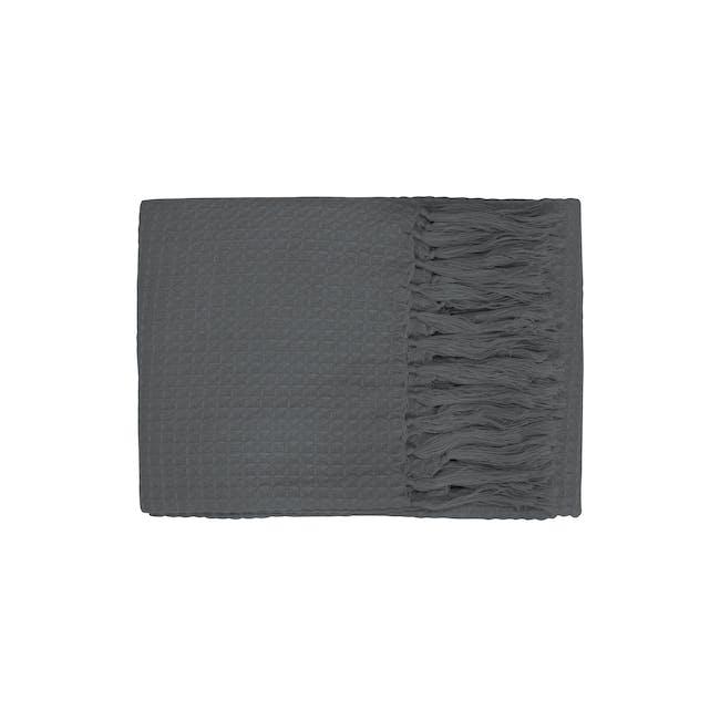 Aubrey Waffle Throw - Dark Grey - 0