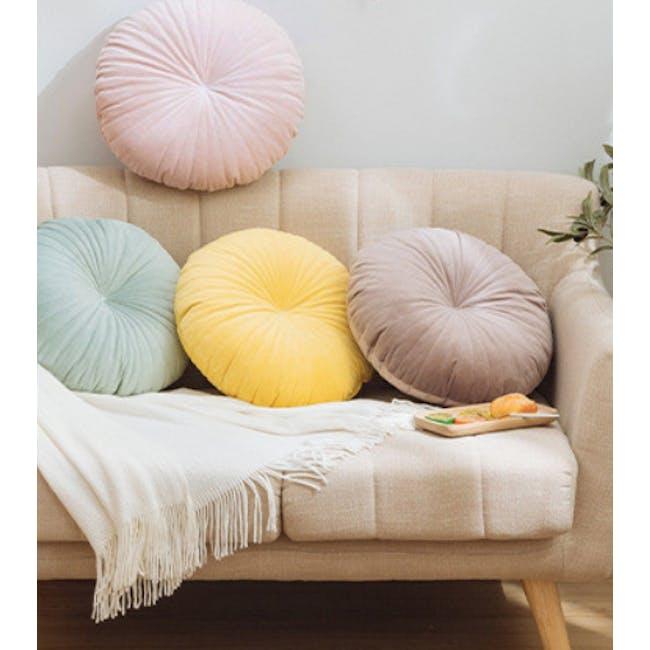 Fenni Round Velvet Cushion - Blush - 1
