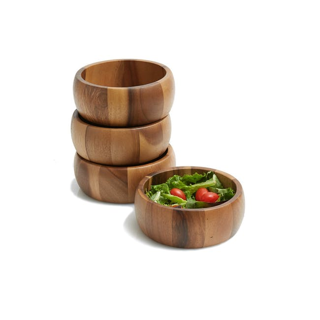 Acacia Wood Small Curved Side Bowls - Set of 4 - 0