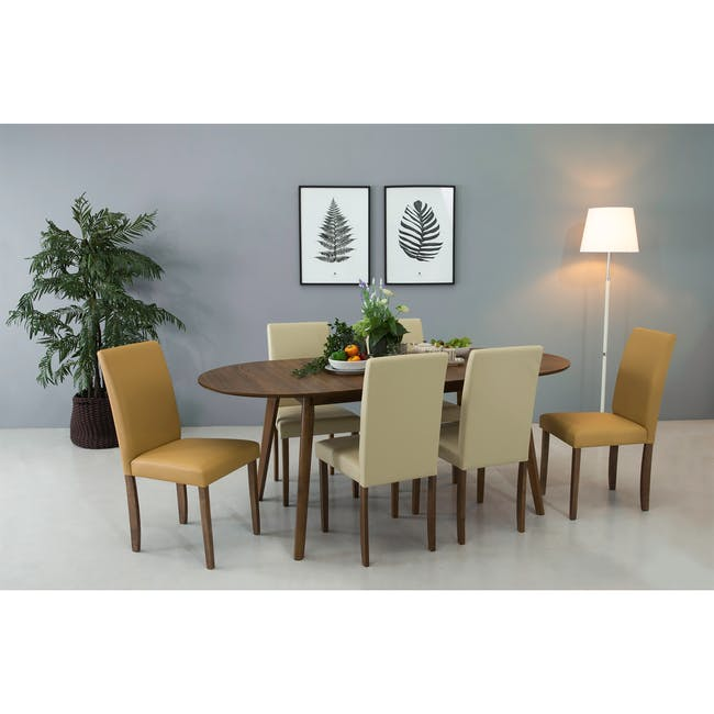 Werner Extendable Oval Dining Table 1.5m with 4 Riley Dining Chairs - 5