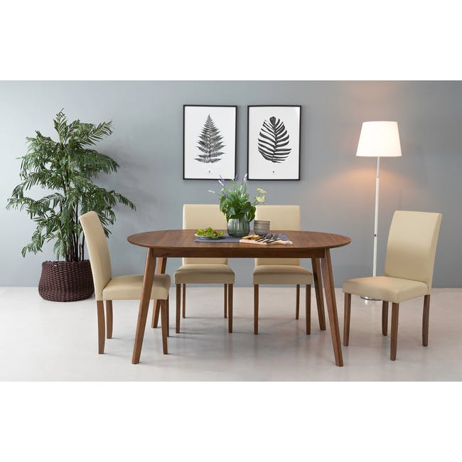 Werner Extendable Oval Dining Table 1.5m with 4 Riley Dining Chairs - 6