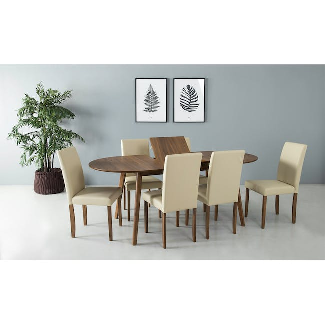 Werner Extendable Oval Dining Table 1.5m with 4 Riley Dining Chairs - 7