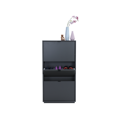 Quen 3 Door Shoe Cabinet - Grey - Image 2