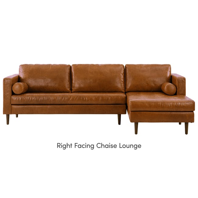 Nolan L-Shaped Sofa - Cigar (Premium Waxed Leather) - 10