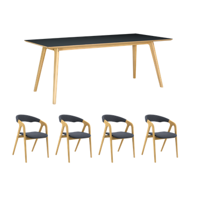 Tyrus Dining Table 2m with 4 Ganit Dining Chairs - Image 1