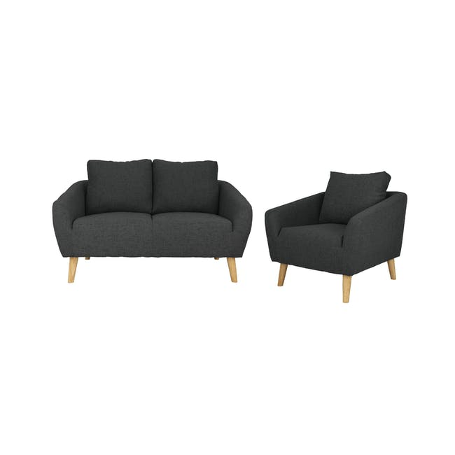 Hana 2 Seater Sofa with Hana Armchair - Charcoal - 0