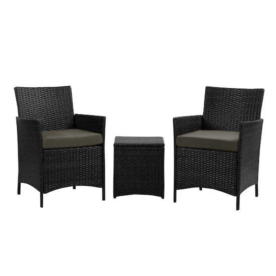 MLM Outdoor - Milton Armchairs with Side Table Outdoor Set - Taupe
