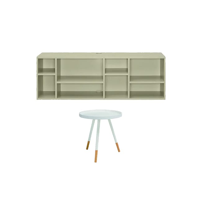 Liam Media Rack 1.2m in Dust Green with Innis Coffee Table in White - 0