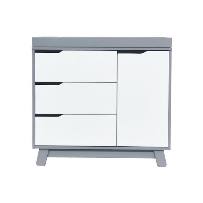 Babyletto Hudson 3-Drawer Dresser with Removable Changing Tray - Grey & White - 0