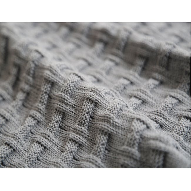 Camille Knitted Throw Blanket 110 x 175 cm - Grey - 4