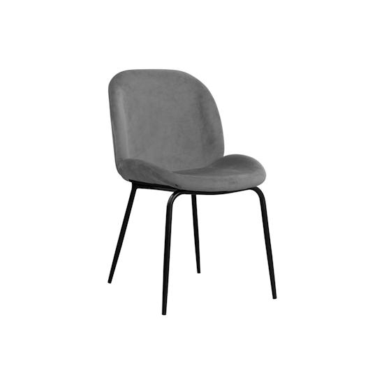 KSD - Quinn Dining Chair - Matt Black, Grey (Velvet)
