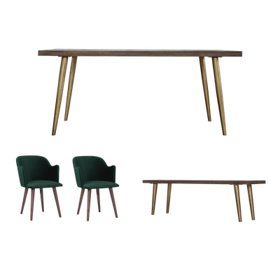 Cadencia Dining Table 1.8m with Cadencia Bench 1.5m and 2 Anneli Dining Arm Chairs - Image 1