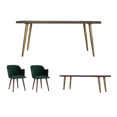 Cadencia Dining Table 1 8m With Bench 5m And 2 Anneli Arm Chairs